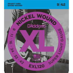 CORDES GUITARE ELECTRIQUE NICKEL 09/42 D ADDARIO