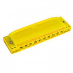HARMONICA HAPPY COLOR PLASTIQUE JAUNE HOHNER gauche