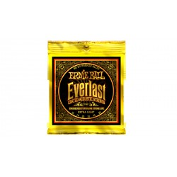 Everlast Coated 80/20 Bronze Acoustic Extra Light ERNIE BALL droite